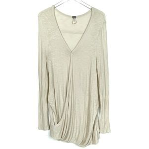 Free People Large Beige Wrap Sweater Tunic